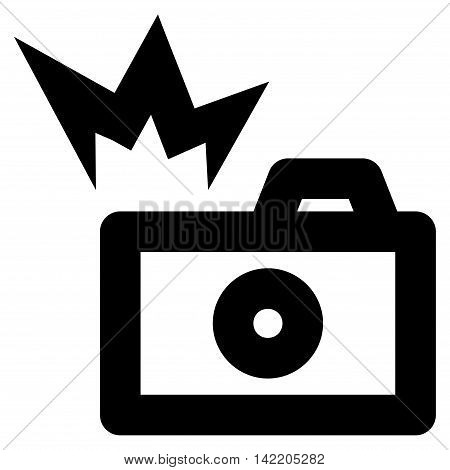 Camera Flash vector icon. Style is linear flat icon symbol, black color, white background.