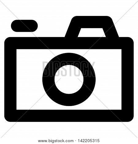 Camera vector icon. Style is contour flat icon symbol, black color, white background.