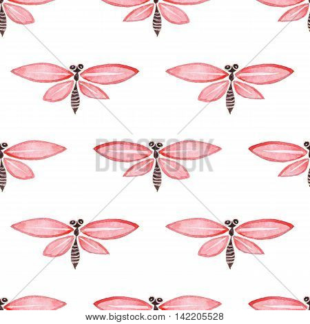 Seamless pattern with dragonflies  2. Watercolor painting