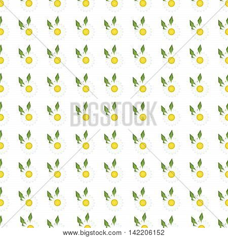 White daisies seamless pattern on yellow background. Daisy field chamomile seamless pattern abstract design plant texture. Nature flower daisies vector summer chamomile seamless pattern.