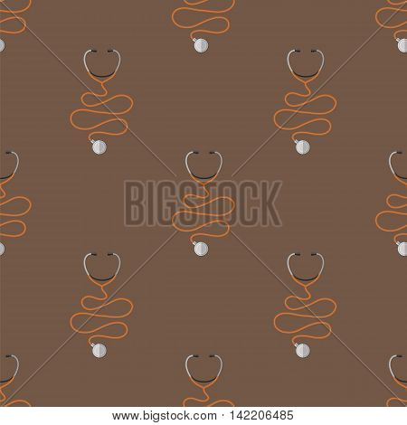 Medical Stethoscope Icon Seamless Pattern. Device of Clinical Cardiology
