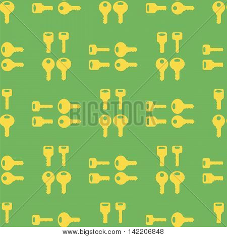 Yellow Keys Isolated on Green Background. Seamless Gold Key Pattern