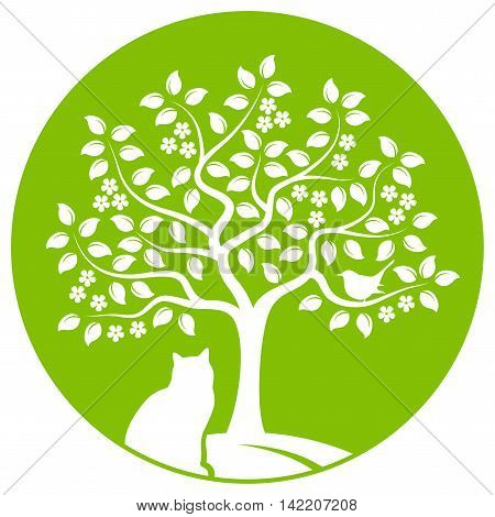 vector flowering tree with bird and cat isolated on green round