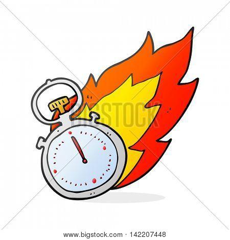 freehand drawn cartoon flaming stop watch