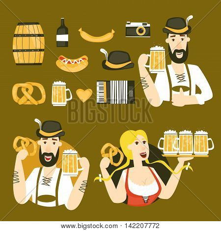 Oktoberfest characters. Bavarian man and woman. Folk costumes. Poster. Flat design vector illustration.