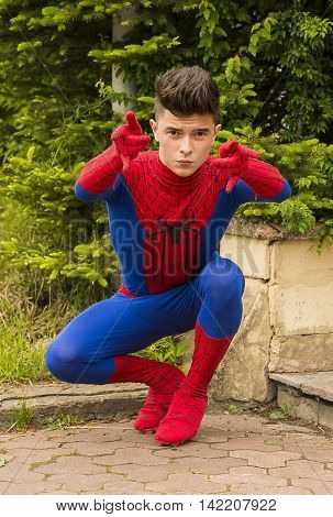 Lviv, Ukraine - May 23.2015: Man dressed in the costume spiderman posing during the festival cosplay Anicon in Lviv May 23.2015