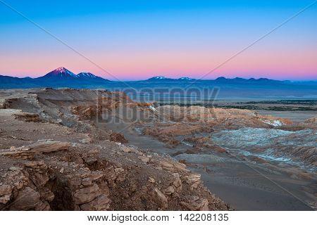 View of Valle de la Luna (Moon Valley) with Licancabur volcano on the back