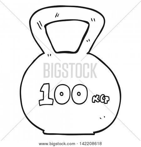 freehand drawn black and white cartoon 10kg kettle bell weight