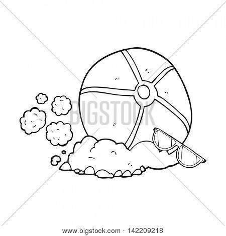 freehand drawn black and white cartoon beach ball