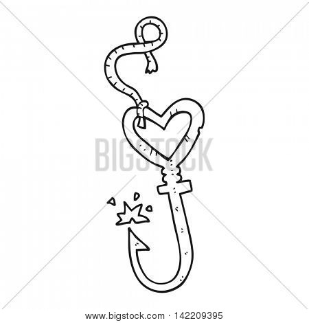 freehand drawn black and white cartoon love heart fish hook