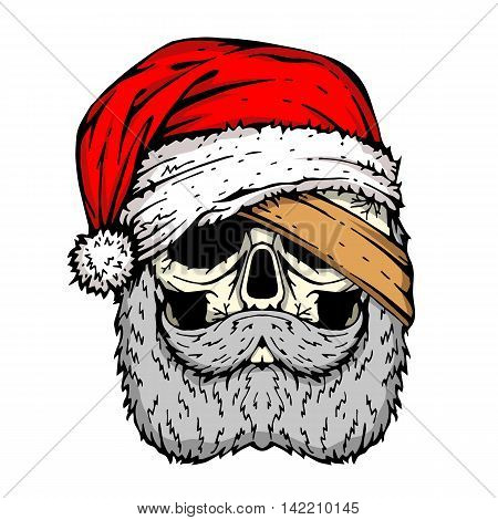 human skull Santa bandage on the eye vector illustration