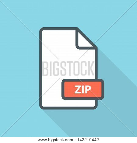 ZIP archive file format line icon with long shadow. Vector illustration.
