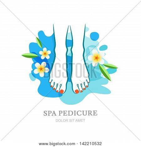Female Feet And Flowers On Water Splash Background.