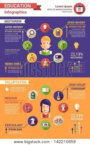 Education poster tempalte of modern vector flat design icons and infographics elements