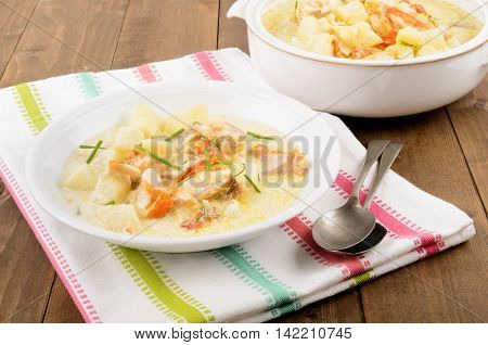 cullen skink typical scottish food with smoked haddock potato onion and chive