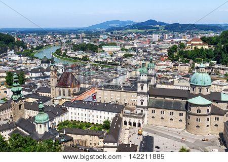 View of historic city of Salzburg, Austria.