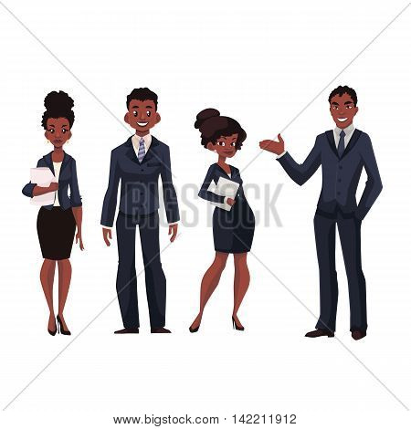 African American businessmen and businesswomen cartoon illustration isolated on white background. Full length portrait of black business men and women, executive and secretary, office workers