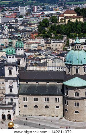 Salzburg Cathedral sight from Hohensalzburg Castle, Austria.