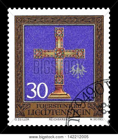 LIECHTENSTEIN - CIRCA 1975 : Cancelled postage stamp printed by Liechtenstein, that shows cross.