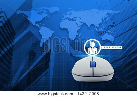 Wireless computer mouse with businessman and magnifying glass icon over map and city tower Recruitment concept Elements of this image furnished by NASA