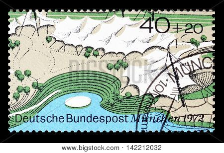 GERMANY - CIRCA 1972 : Cancelled postage stamp printed by Germany, that shows Multi purpose hall and swimming stadium.