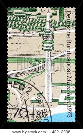 GERMANY - CIRCA 1972 : Cancelled postage stamp printed by Germany, that shows TV tower.
