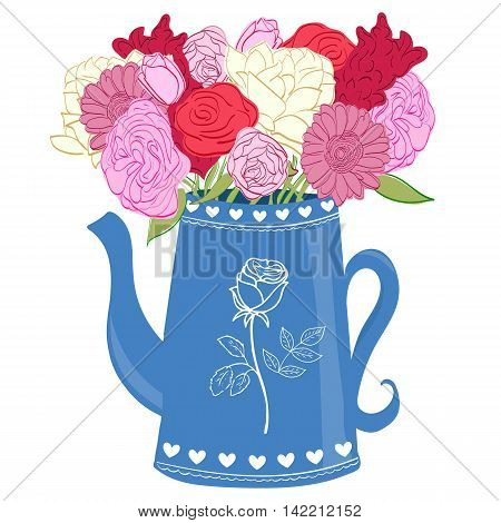 Hand drawn bouquet of flowers in jug on white background. Flowers in jar.