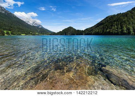 Mountain lake with turquoise blue water. AustriaTyrol Hintersteiner Lake