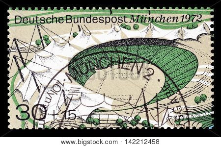 GERMANY - CIRCA 1972 : Cancelled postage stamp printed by Germany, that shows Olympic stadium.