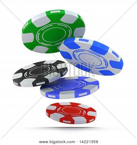 Poker chips falling fron above isolated on white