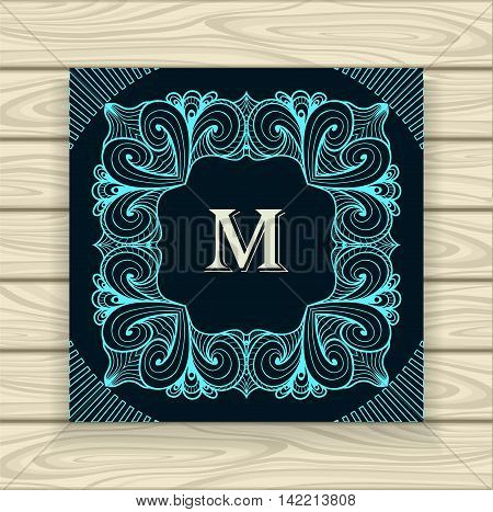 Decorative ornamental frame in vintage style blue on black  or Template  of monogram advertising cosmetic perfumer  clothes or for decorate other things