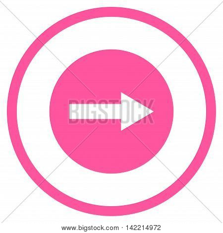 Right Rounded Arrow vector icon. Style is flat rounded iconic symbol, right rounded arrow icon is drawn with pink color on a white background.