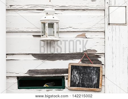 White Rural Wooden Wall With Chalkboard