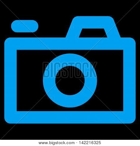 Camera vector icon. Style is stroke flat icon symbol, blue color, black background.