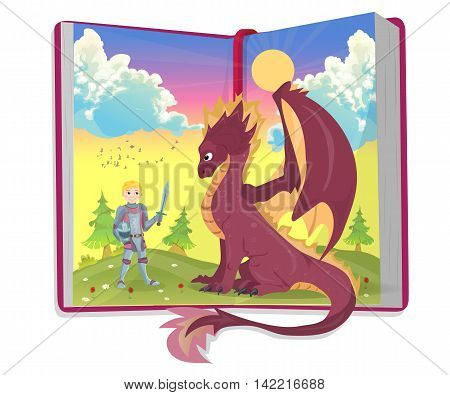 Open book of fairytales with knight and dragon vector illustration