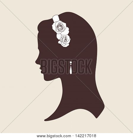 Wedding design silhouette of bride wearing tiara made of roses vector illustration
