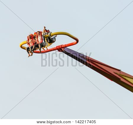 St. Petersburg, Russia - 24 May, Young people on the ride, 24 May, 2016. Amusement park