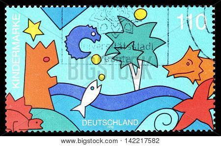 GERMANY - CIRCA 1998 : Cancelled postage stamp printed by Germany, that shows drawing.