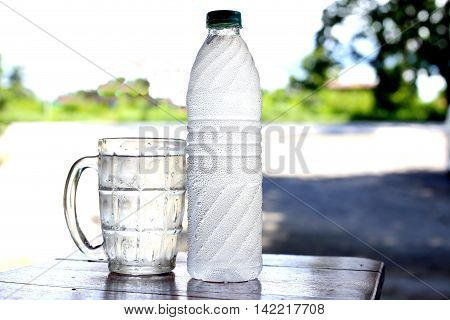 cool clean water in plastic bottle, cool beverage