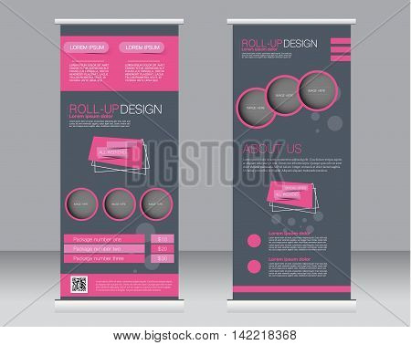 Roll Up Banner Stand Template. Abstract Background For Design,