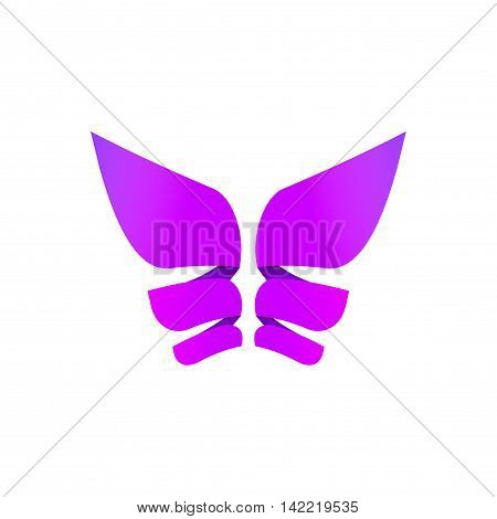 Butterfly colorful logo template, abstract butterfly wings shape in purple violet colors, beautiful modern geometric vector butterfly icon design for business card, brand or identity isolated