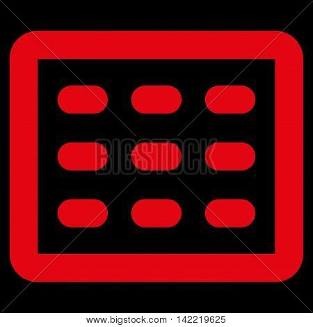 Table Grid vector icon. Style is linear flat icon symbol, red color, black background.