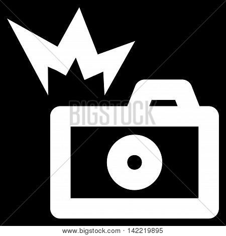 Camera Flash vector icon. Style is linear flat icon symbol, white color, black background.