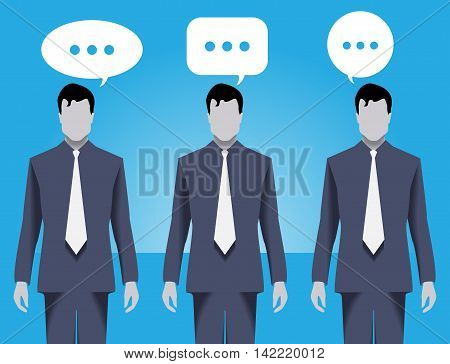 Team discussion business concept. Three businessmen wearing business suits stand together and discuss different business aspects working together and helping each other.