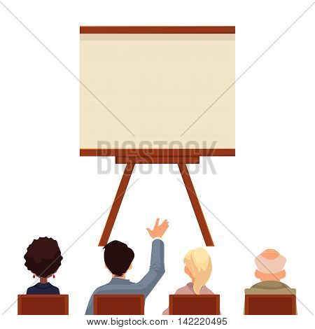 Presentation board in front of a group of people, sketch style vector illustration isolated on white background. Flip chart template. People sitting and looking at the board, business presentation