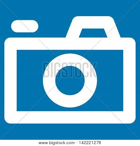 Camera vector icon. Style is contour flat icon symbol, white color, blue background.