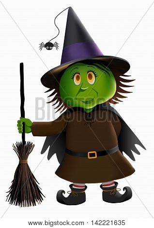 Little green witch and broomstick isolated vector illustration.