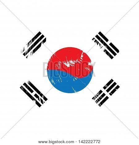 Textured South Korean flag Vector illustration, eps 10