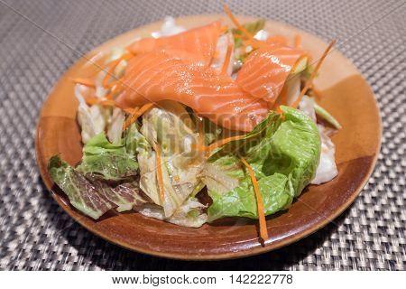 Fresh salmon salad Japanese fusion foods in restuarant