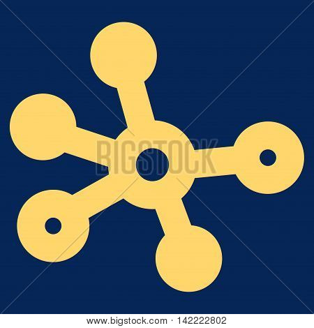 Connections vector icon. Style is outline flat icon symbol, yellow color, blue background.